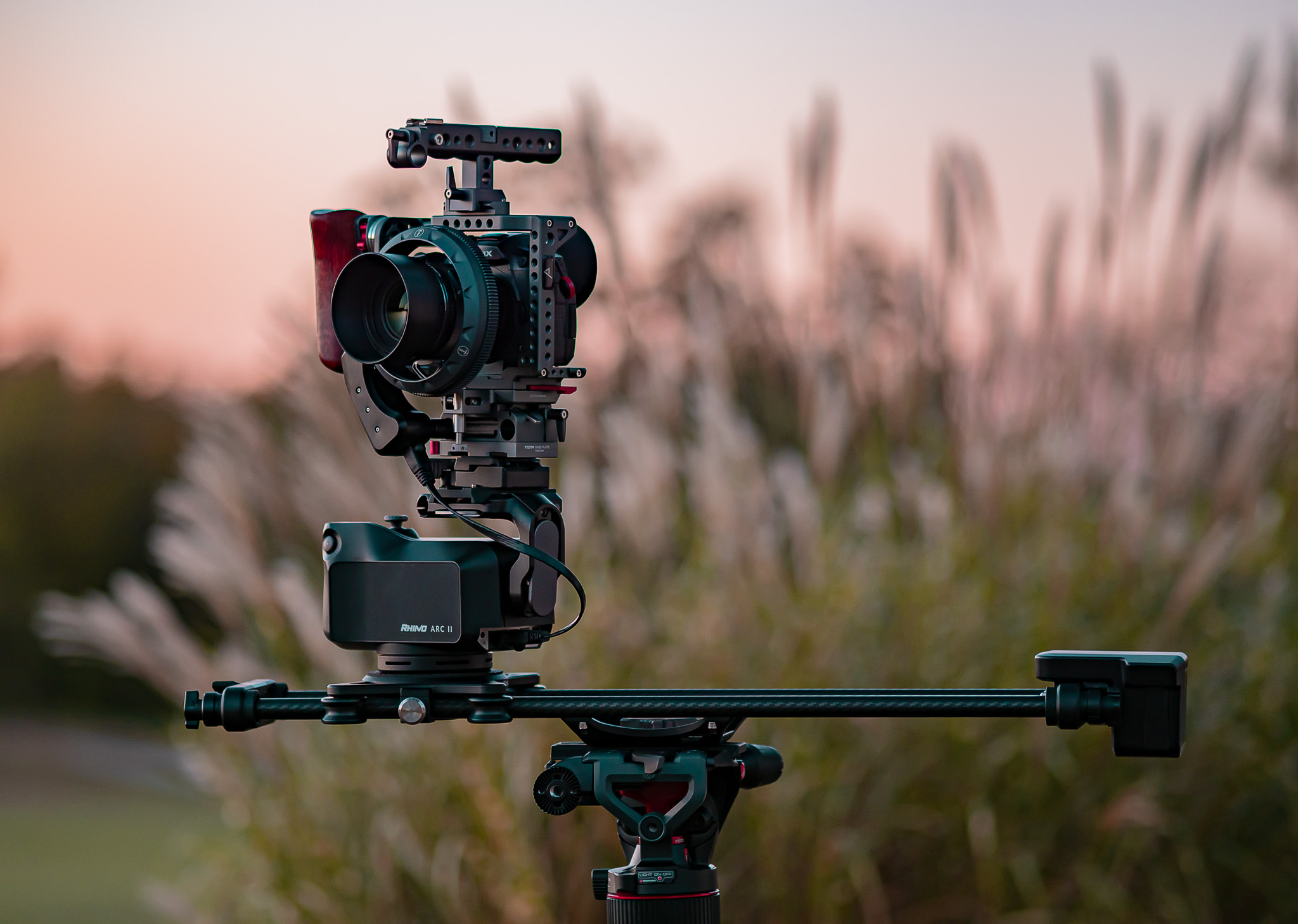 Pinnacle Timelapse and Hyperlapse GH5S in Tilta Cage on Rhino Arc 2 Carbon Fiber Camera Slider Nitrotech Manfrotto N8 Video Head