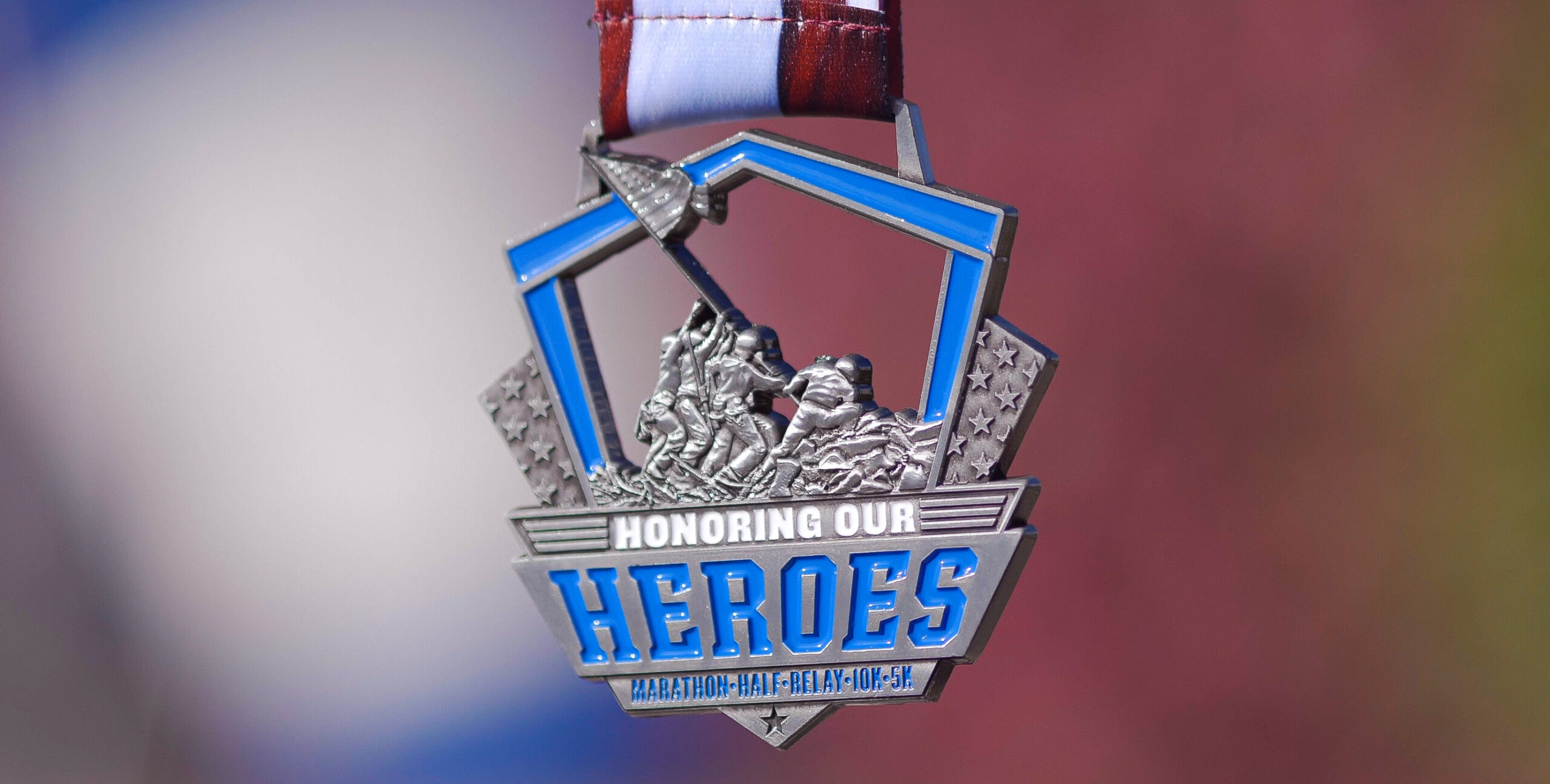 Honoring Our Heroes Marathon Medal Close up