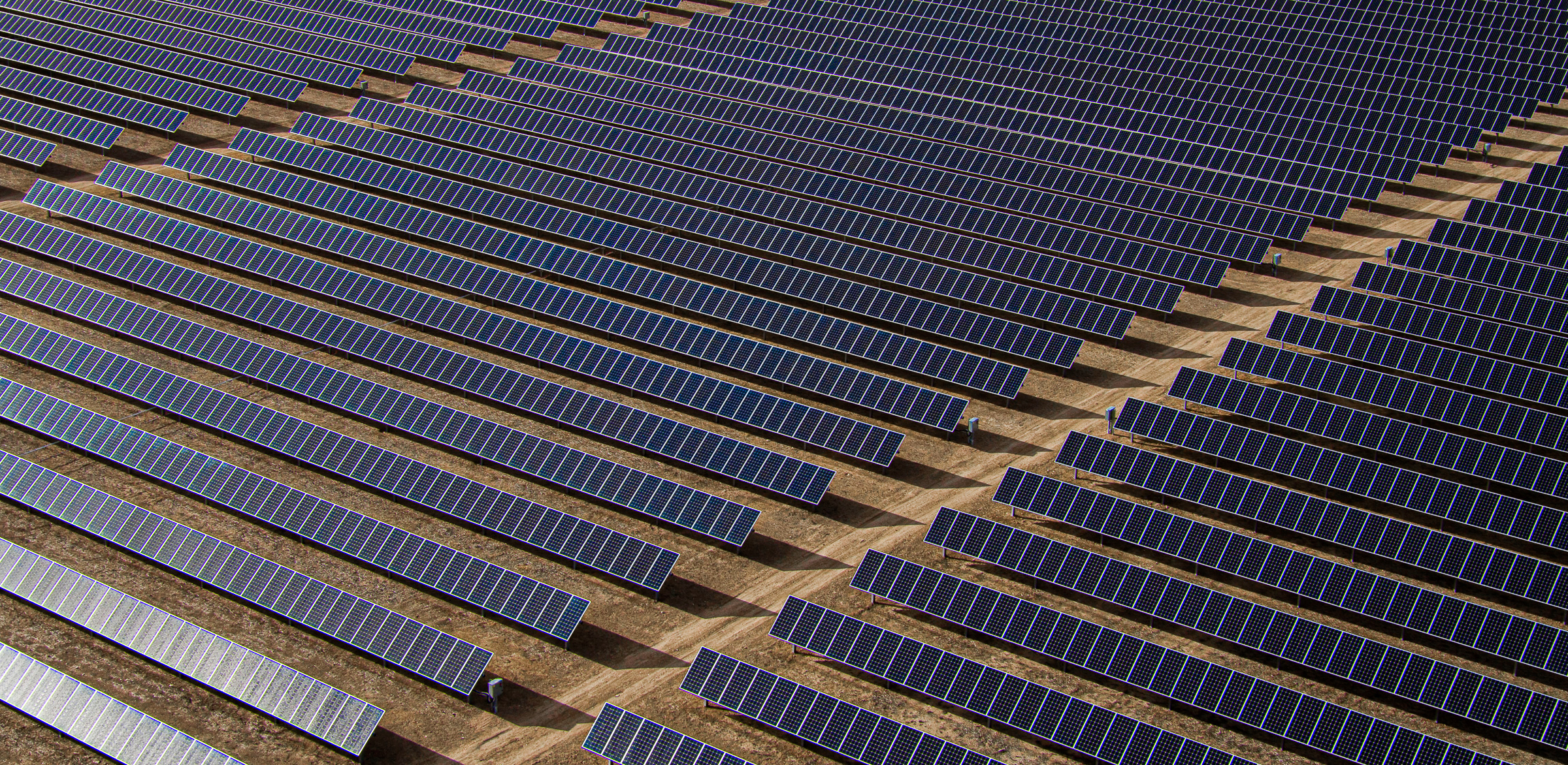 Drone aerial image of solar panels in a large solar field